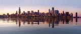 Zachód słońca nad panoramą miasta Chicago z obserwatorium