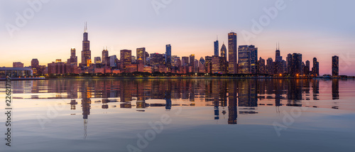Sunset over city skyline Chicago from Observatory