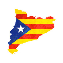 Catalonia Country Silhouette With Flag On Background, Isolated On White