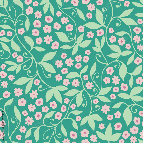 Fototapety, obrazy: Green pink floral tendril seamless vector pattern background