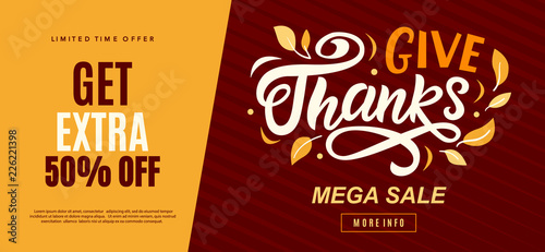 Thanksgiving Day sale web banner template Canvas Print