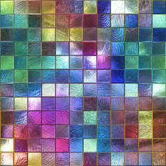 NaklejkaColored glass seamless texture with square pattern for window, stained glass, 3d illustration