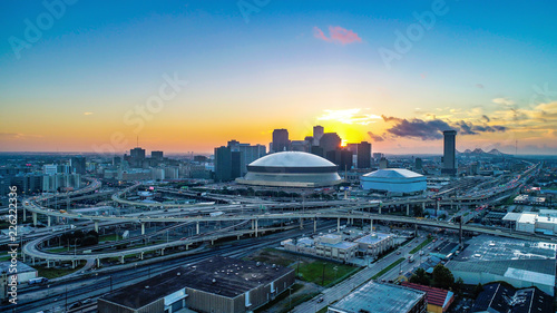 Aerial View of New Orleans, Louisiana, USA Skyline at Sunrise Canvas Print