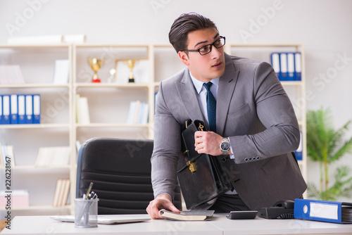 Vászonkép Businessman in industrial espionage concept