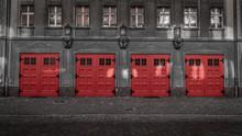 Feuerwehrgarage Colorkey, Feuerwehrauto Nach Dem Brand Parken
