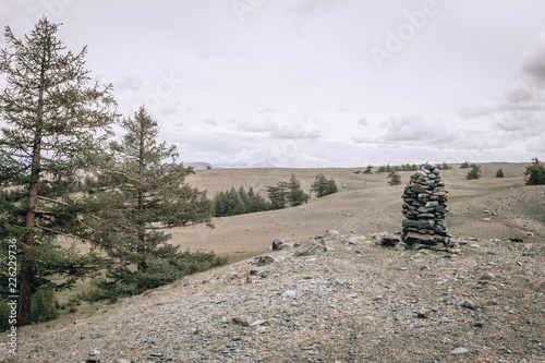 Fotobehang Wit Mongolian landscapes in the Altai Mountains, wide landscape