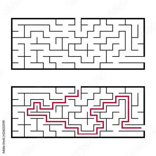 Fotografie, Obraz  Black rectangular labyrinth with an input and an exit