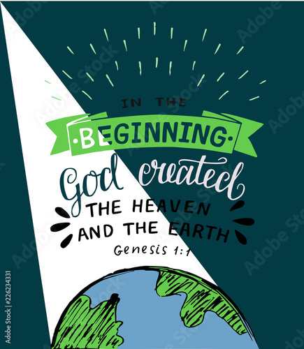 Valokuva Hand lettering with bible verses In the beginning God created the heaven and earth