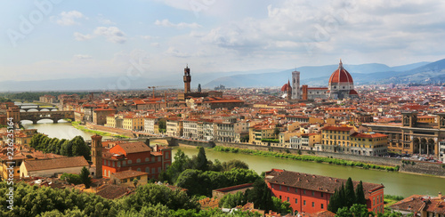 Fototapety, obrazy: Florence skyline with Florence Cathedral, Palazzo Vecchio and Ponte Vecchio
