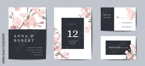 Photographie Set of Botanical retro wedding invitation card, vintage Save the Date, template design of sakura flowers and leaves, cherry blossom illustration