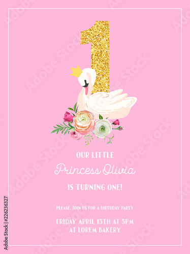 Fototapeta Baby Birthday Invitation Card With Illustration Of Beautiful Swan Flowers And Golden Glitter Number One Arrival Announcement Greetings