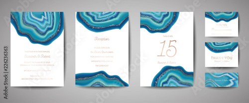 Wedding fashion geode or marble template, artistic covers design, colorful texture, realistic backgrounds Tablou Canvas