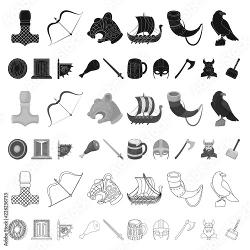 Vikings and attributes cartoon icons in set collection for design Canvas Print