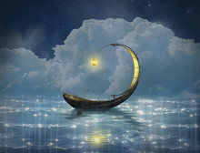 Fantasy Boat In A Starry Night