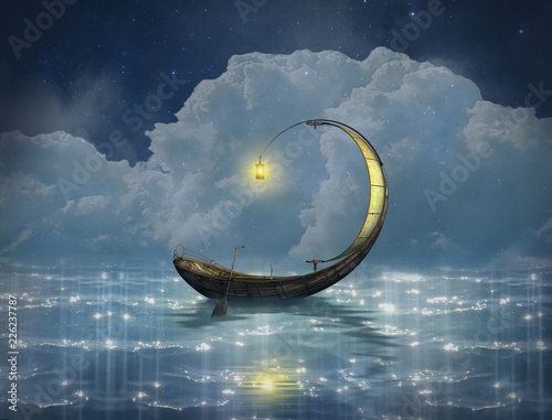 Fantasy boat in a starry night Wall mural