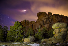 Moonlit Rock Formations At Ved...