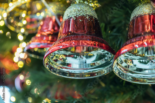 Christmas tree balls close-up, traditional decorations, new year