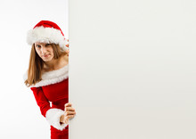 Beautiful Woman In Santa Claus...
