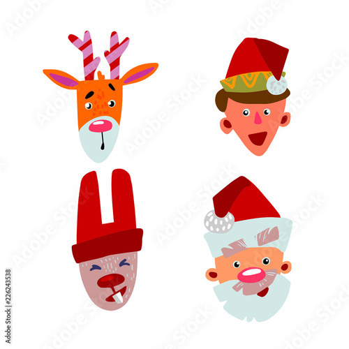 Printed kitchen splashbacks Illustrations Christmas characters four faces