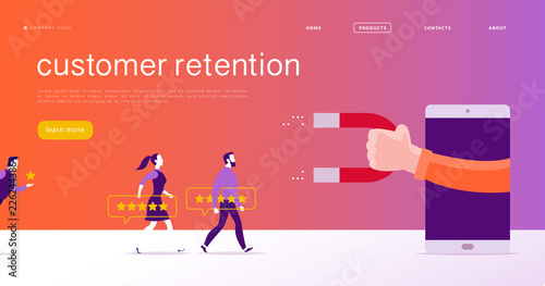 Photo  Vector web page concept design, customer retention theme