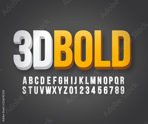 Fototapeta Modern 3d bold font vector obraz