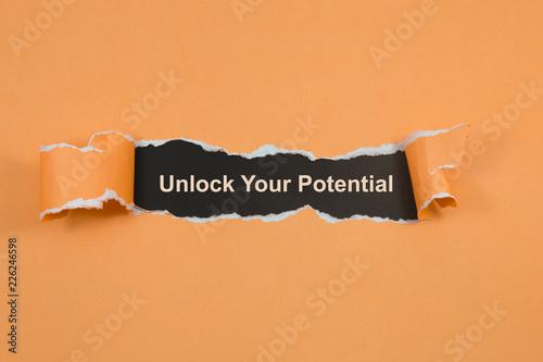 Fotografie, Obraz  unlock your potential text on paper