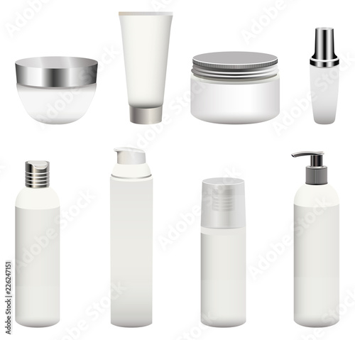Photo  vector set of blank cosmetics packages (bottles, containers, cream jars and other) isolated on white background