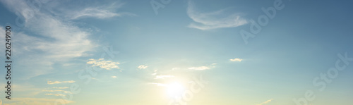 Panoramic view sunset sky background