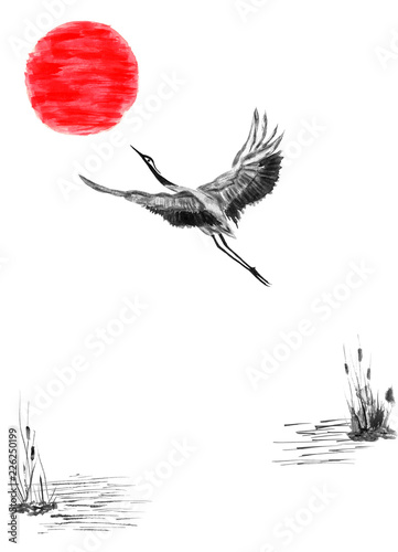 Naklejki żurawie  japanese-crane-bird-drawing-and-red-sun-watercolor-and-ink-illustration-in-style-sumi-e