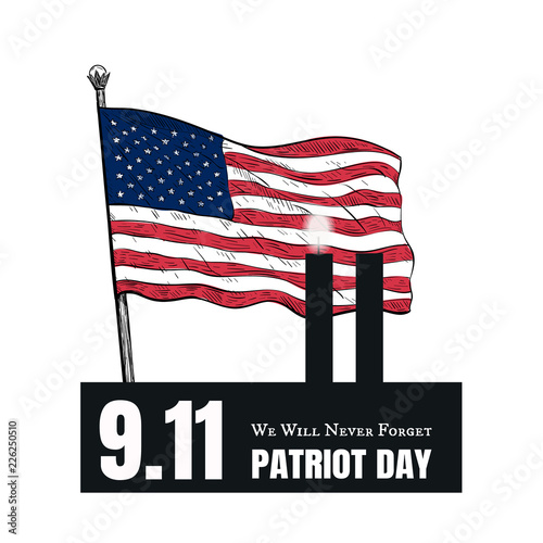 Photo  Patriot Day American Flag stripes background.
