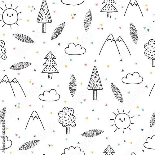 Hand drawn seamless pattern with trees and mountains Wallpaper Mural
