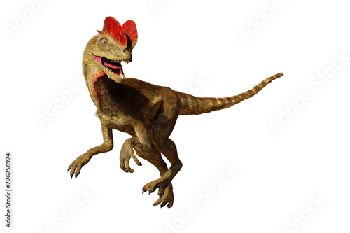 Obraz na plátně Dilophosaurus, theropod dinosaur from the Early Jurassic period (3d illustration