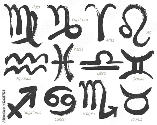 Fototapeta Collection of zodiac signs, hand-drawn with ink brush