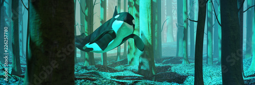 Fotografie, Obraz killer whale swimming in forest, orca flying in foggy landscape