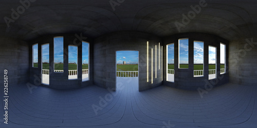 Foto auf AluDibond Blaue Nacht HDRI environment map, abstract spherical panorama background, empty apartment with panoramic view (3d equirectangular render)