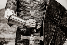 Knight Man Holding Sword And S...