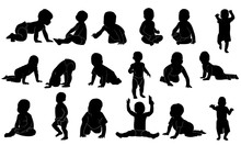 Collection Of Baby Image Silhouettes