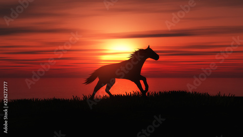 3D koński bieg w zmierzchu krajobrazie