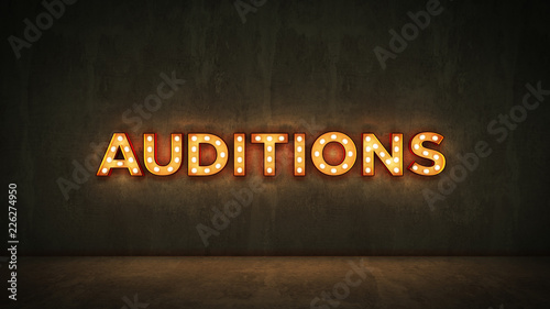 Photo Neon Sign on Brick Wall background - Auditions. 3d rendering