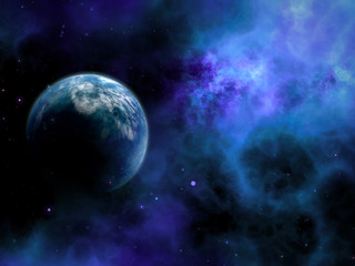 3D abstract space scene with fictional planet