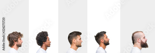 Valokuvatapetti Collage of young caucasian, hispanic, afro men wearing white t-shirt over white isolated background looking to side, relax profile pose with natural face with confident smile