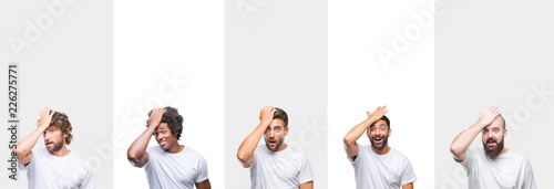 Photo Collage of young caucasian, hispanic, afro men wearing white t-shirt over white isolated background surprised with hand on head for mistake, remember error