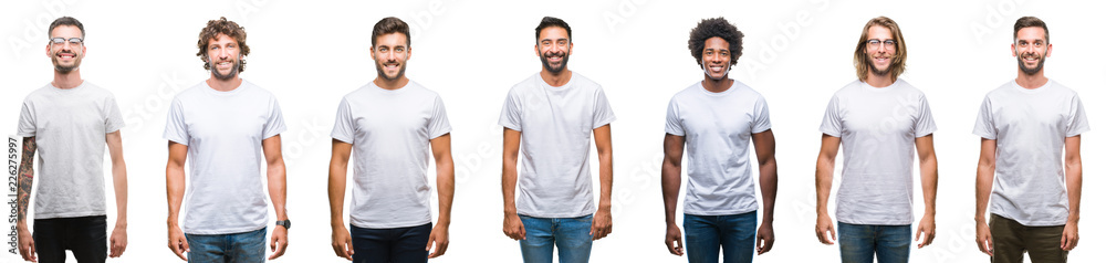 Fototapeta Collage of young caucasian, hispanic, afro men wearing white t-shirt over white isolated background with a happy and cool smile on face. Lucky person.