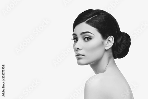 Fototapeta beautiful girl with hairdo isolated on white obraz