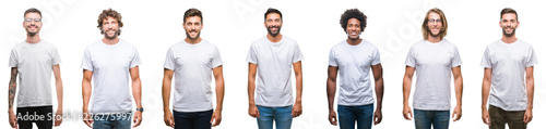 Fototapeta Collage of young caucasian, hispanic, afro men wearing white t-shirt over white isolated background with a happy and cool smile on face