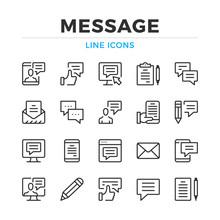 Message Line Icons Set. Modern Outline Elements, Graphic Design Concepts, Simple Symbols Collection. Vector Line Icons