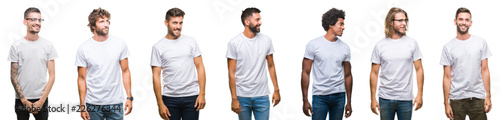 Valokuva  Collage of young caucasian, hispanic, afro men wearing white t-shirt over white isolated background looking away to side with smile on face, natural expression