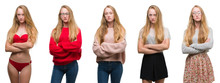 Collage Of Young Blonde Girl Over White Isolated Background Skeptic And Nervous, Disapproving Expression On Face With Crossed Arms. Negative Person.