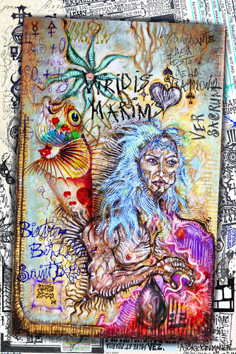Fotobehang Imagination Shaman. Esoteric graffiti and manuscripts with alchemical draws