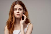 Surprised Look Woman Loose Hair Gray Background Problem Skin